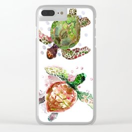 Turtles, Olive Green Cherry Colored Sea Turtles, turtle Clear iPhone Case