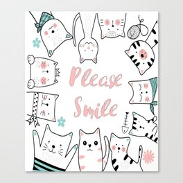 Please Smile T-shirt For the Cat lovers Canvas Print