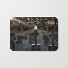 Gravestones and statue Bath Mat