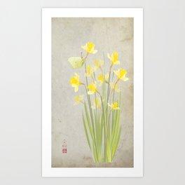 Daffodils and brimstone Art Print