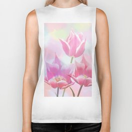 Painterly pastel spring with tulips Biker Tank