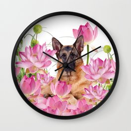 German Sheep Dog Lotos Field Wall Clock
