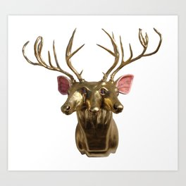 Trophy Head (4Ocular2AuditoryGoldenHorned3Face) Art Print