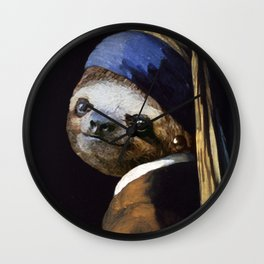 The Sloth with a Pearl Earring Wall Clock