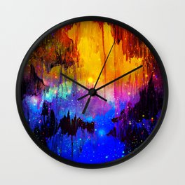 CASTLES IN THE MIST Magical Abstract Acrylic Painting Mixed Media Fantasy Cosmic Colorful Galaxy  Wall Clock