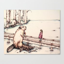 The Girl & The Beaver (or, Is It Alright if I Take Notes?) Canvas Print