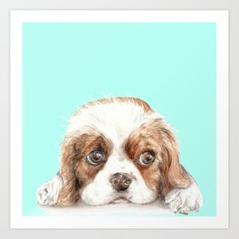Cavalier King Charles Spaniel Dog Watercolor Pet Portrait Art Print