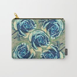 Blue Rose Garden Quilt Square Carry-All Pouch