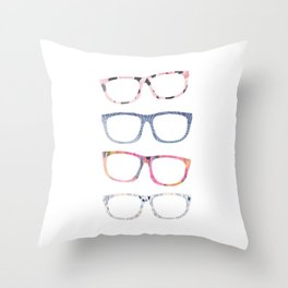 Bespectacled // Watercolor Glasses Print Throw Pillow