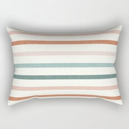 sunset stripes in terra cotta and jade Rectangular Pillow