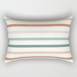 sunset stripes in terra cotta and jade Rectangular Pillow