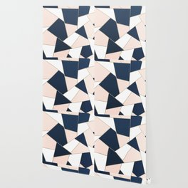 Navy Blue Blush White Gold Geometric Glam #1 #geo #decor #art #society6 Wallpaper