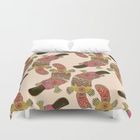 platypus Duvet Covers featuring duck-billed platypus linen by Sharon Turner