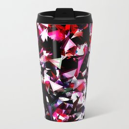 psychedelic geometric triangle polygon abstract pattern in red pink black Travel Mug