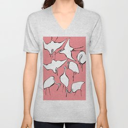 """Hokusai (1760-1849) """"Cranes from Quick Lessons in Simplified Drawing""""(edited) Unisex V-Neck"""