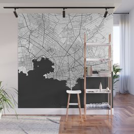 Montevideo Map Gray Wall Mural