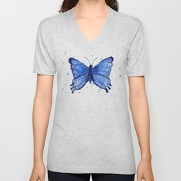 Butterfly Blue Watercolor Animal Painting Unisex V-Neck