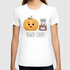 Pumpkin + Spice = Power Couple Womens Fitted Tee White LARGE
