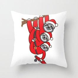 Santa Sloth Skate Throw Pillow