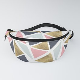 Modern geometrical pink navy blue gold triangles pattern Fanny Pack