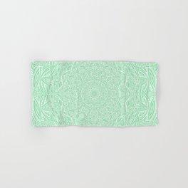 Most Detailed Mandala! Mint Green Color Intricate Detail Ethnic Mandalas Zentangle Maze Pattern Hand & Bath Towel