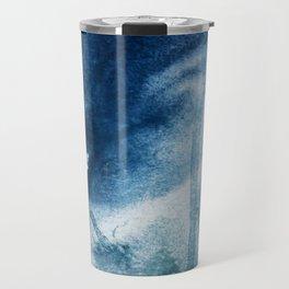 Pacific Grove: a pretty minimal abstract piece in blue by Alyssa Hamilton Art Travel Mug