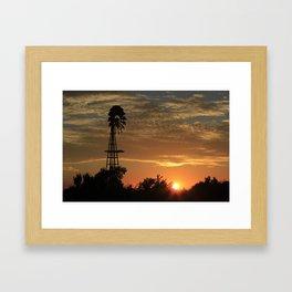 Kansas Windmill Silhouette with a Sunset Framed Art Print
