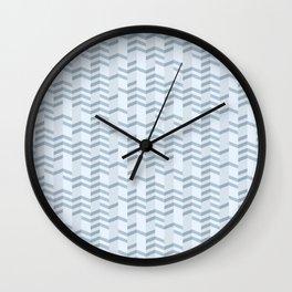 Blue Chevron Cuts Wall Clock
