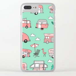 Camper summer vacation tropical pattern RV van life print by andrea lauren Clear iPhone Case