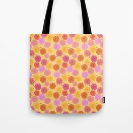 Hibiscus Hawaiian Flowers in Pinks and Corals on Yellow Tote Bag