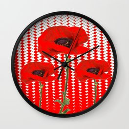 RED ON RED POPPIES ART Wall Clock
