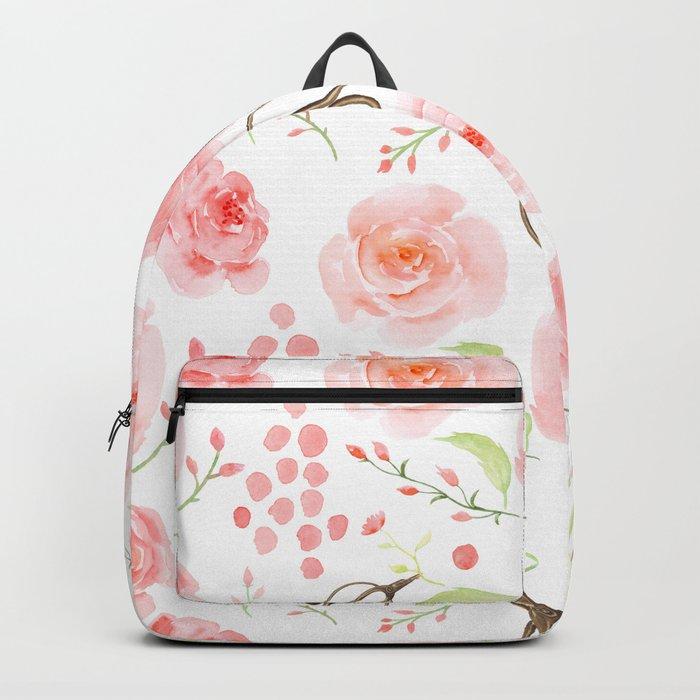 Summer Flowers Flower Floral Pink Vintage Roses #Society6 Backpack