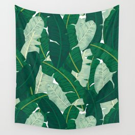 Classic Banana Leaves in Palm Springs Green Wall Tapestry