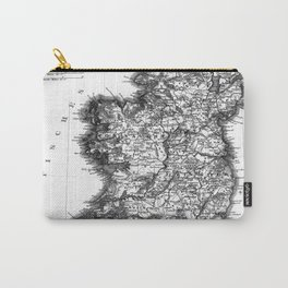 Vintage Black and White Ireland MAp Carry-All Pouch