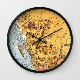 1929 Map of British Columbia Wall Clock