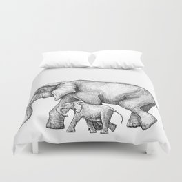 Elephant Momma and Baby Tag-a-long Duvet Cover