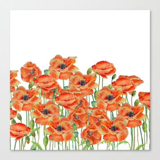 Watercolor poppy field illustration Canvas Print