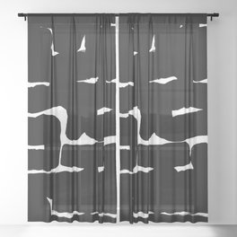 Black & White Minimalist Ink Tribal Mid Century Pattern Dark Painting Pattern Sheer Curtain