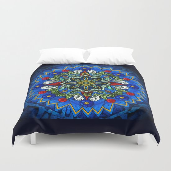 Lighted Rose Window Collage Duvet Cover