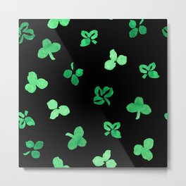 Clover Leaves Pattern on Black Metal Print