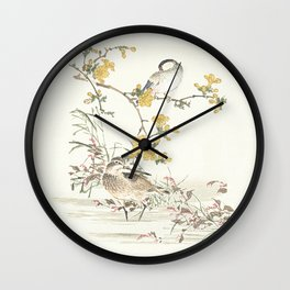 Birds and flowers - Japanese inspired watercolour Wall Clock