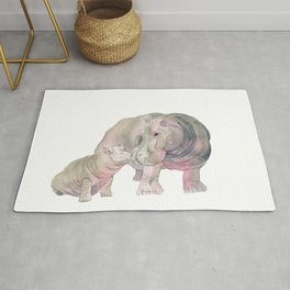 Mom and Baby Hippo Rug