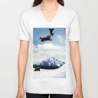 ski V-neck T-shirts featuring ski Mountain by Colton