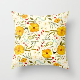 SUNSHINE FLORAL Throw Pillow