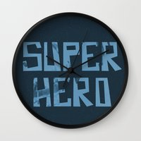 superhero Wall Clocks featuring Superhero by Open The Mind