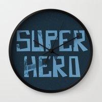 superhero Wall Clocks featuring Superhero by Open The Mind
