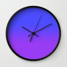 Neon Purple and Bright Neon Blue Ombré Shade Color Fade Wall Clock