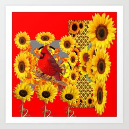 RED CARDINAL BIRD YELLOW SUNFLOWERS  ABSTRACT Art Print