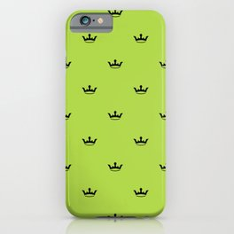Black Crown pattern on Green background iPhone Case