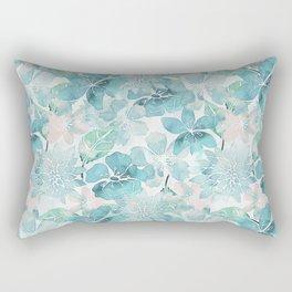 Blue green watercolor flower pattern Rectangular Pillow